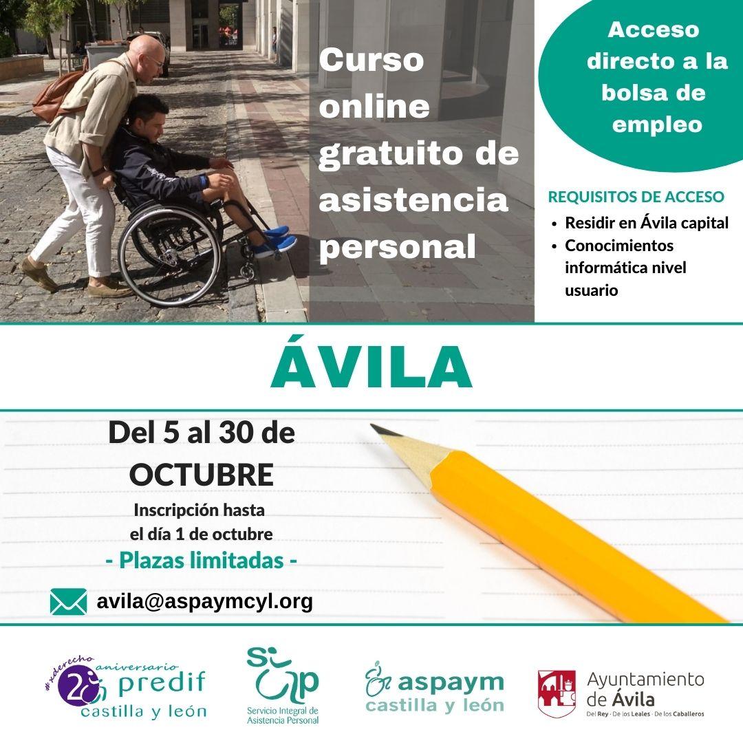 cartel del curso online gratuito asistencia personal Ávila